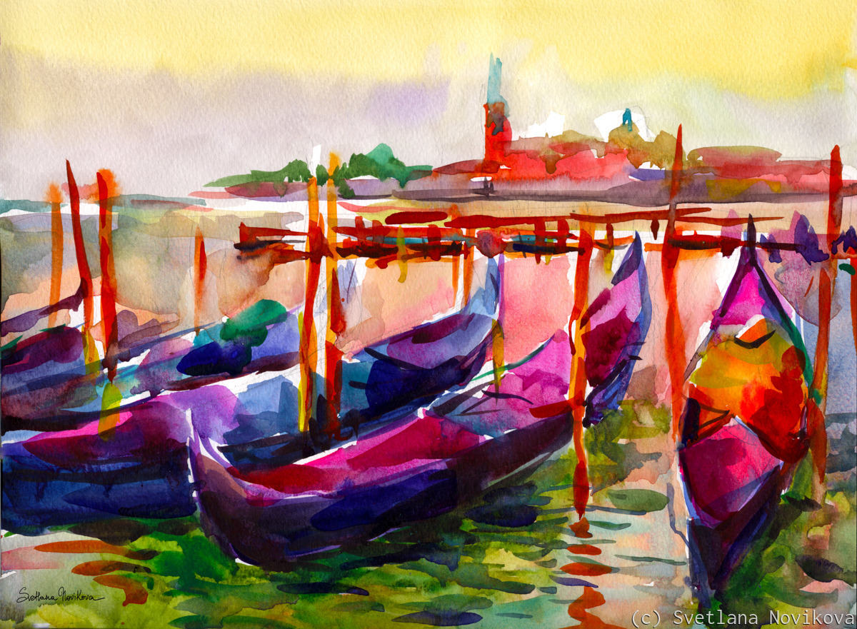 Colorful Venice Italy watercolor painting  (large view)