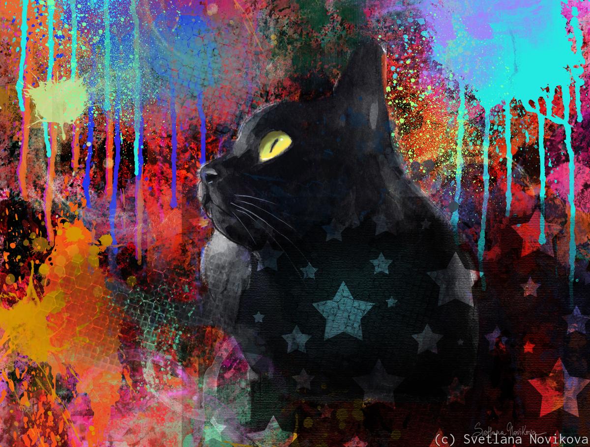 Pop Art Black Cat (large view)
