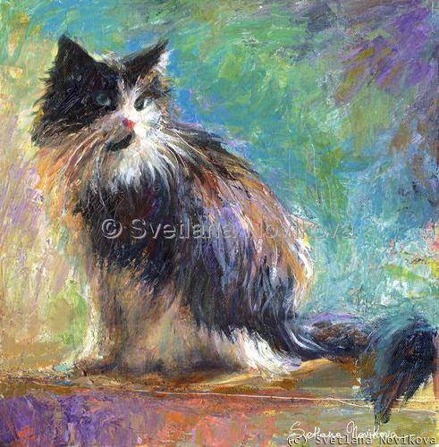 Impressionistic Tuxedo cat Svetlana Novikova (large view)