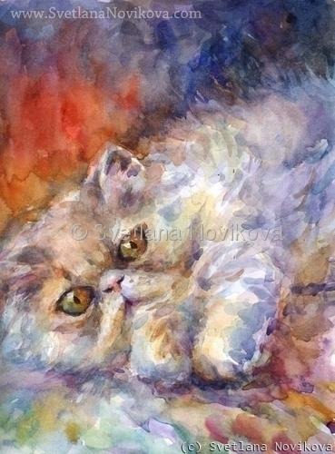 Original watercolor Persian Cat portrait painting Svetlana Novikova (large view)
