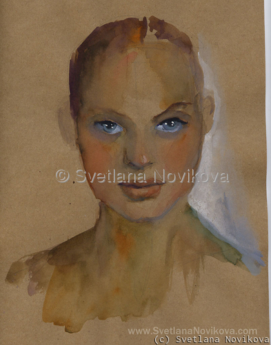 Watercolor Woman portrait painting Svetlana Novikova (large view)