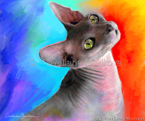 Vibrant Sphynx cat painting Svetlana Novikova (large view)