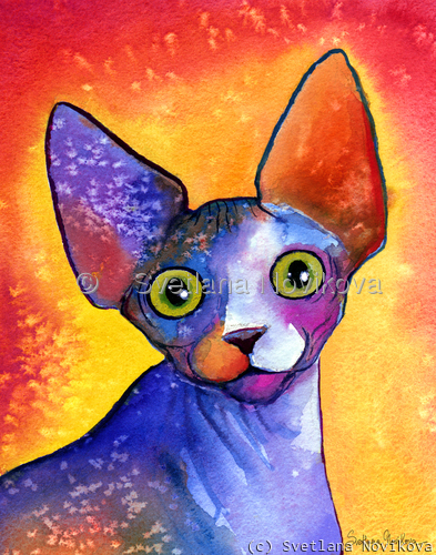 Sphynx Cat #3 painting Svetlana Novikova (large view)