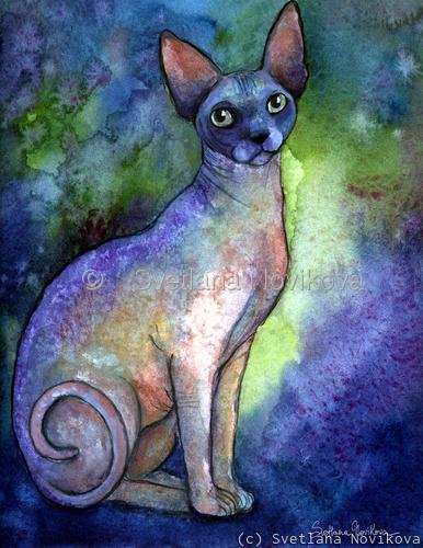 Sphynx Cat #2 painting print Svetlana Novikova (large view)