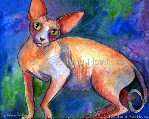 Sphynx Cat #4 painting Svetlana Novikova (large view)