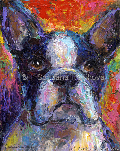 Impressionistic Boston Terrier dog painting (large view)