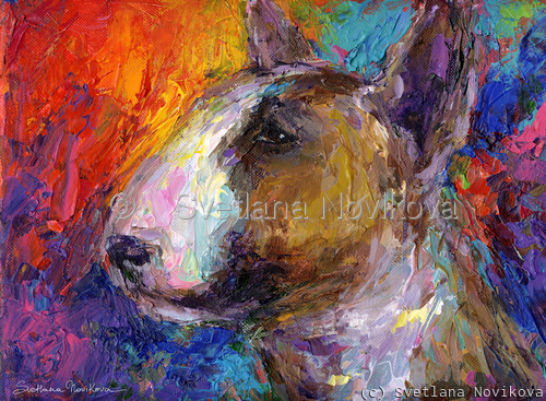Impressionistic Bull Terrier Dog painting (large view)