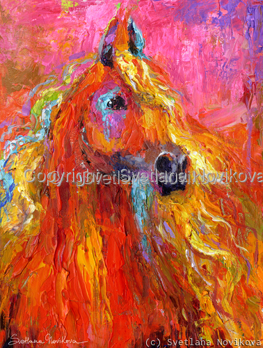 Impressionistic Red Arabian Horse painting (large view)