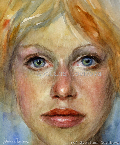 Impressionistic watercolor painting of a woman by svetlana novikova (large view)