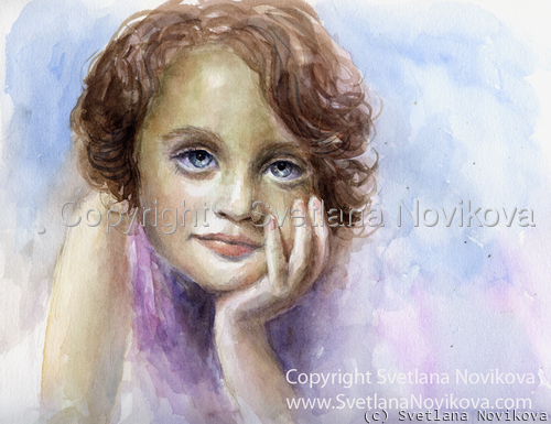An original watercolor painting of a young girl child by impressionist artist Svetlana Novikova (large view)