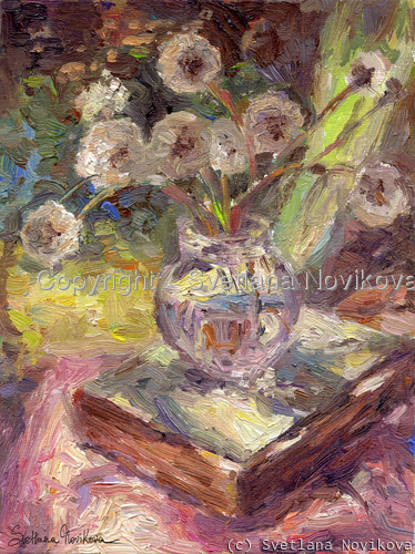 vintage inspired still life with sunlite dandelions and a book painting by Svetlana Novikova (large view)