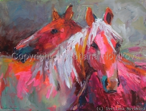 Contemporary Horses painting (large view)