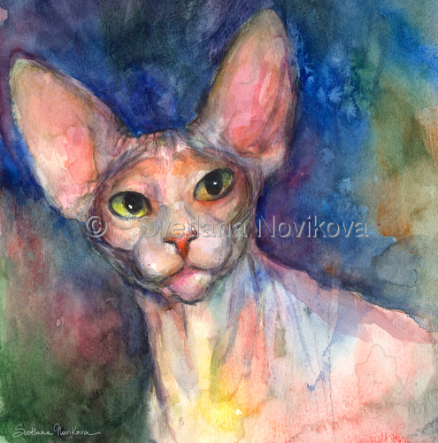 Sphynx Cat #45 painting Svetlana Novikova (large view)