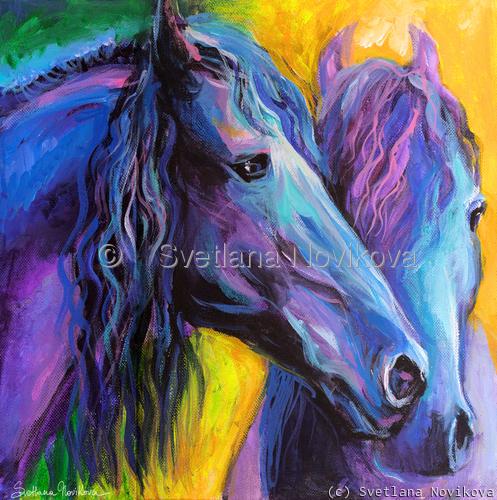 Two Friesian Horses painting Svetlana Novikova (large view)