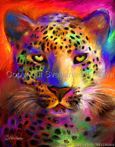 Vibrant leopard Giclee print (large view)