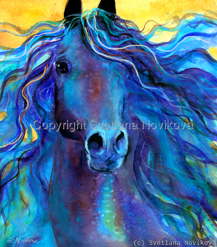 Blue horse painting Giclee Print (large view)