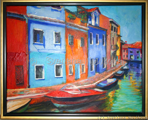 Italy, Murano cityscape painting  (large view)