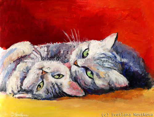 Tabby Cats Giclee print (large view)