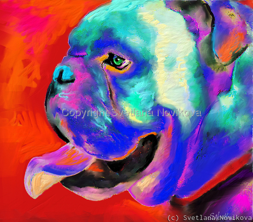 Bulldog Pop Art painting Giclee print (large view)