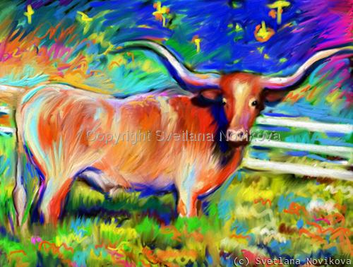 Longhorns Texas art (large view)