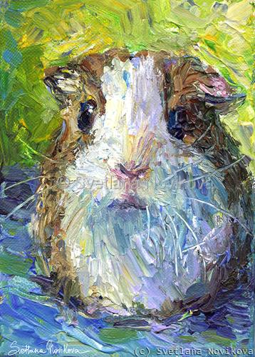 Cute Impasto Guinea Pig painting Svetlana Novikova (large view)