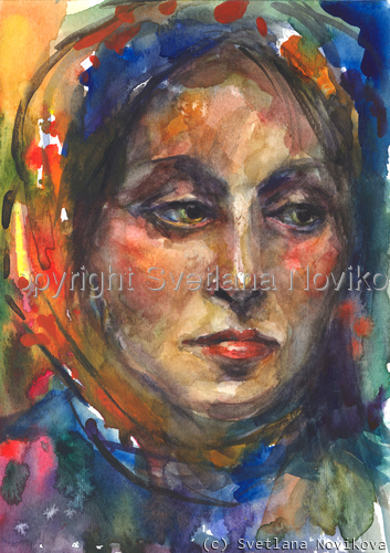 Watercolor painting woman study (large view)