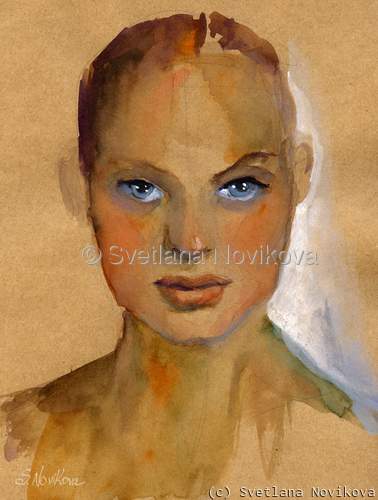 Watercolor woman study portrait 2 painting (large view)