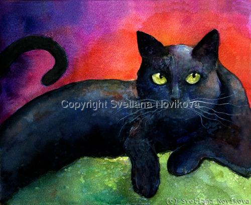 Black Cat #8 Watercolor art (large view)