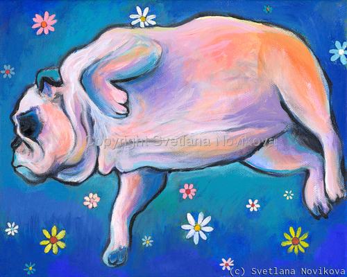 Bulldog dreams Art painting Giclee Print (large view)