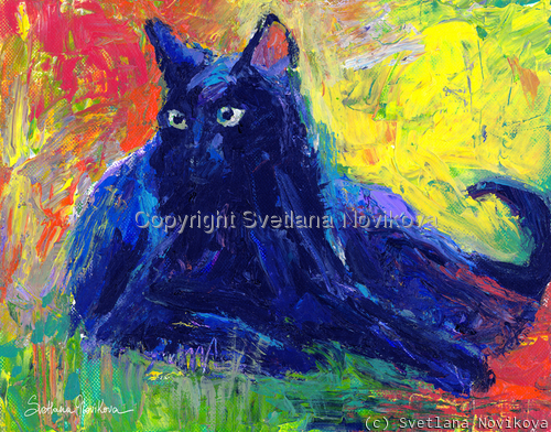 Impasto Black Cat Art painting Giclee Print (large view)