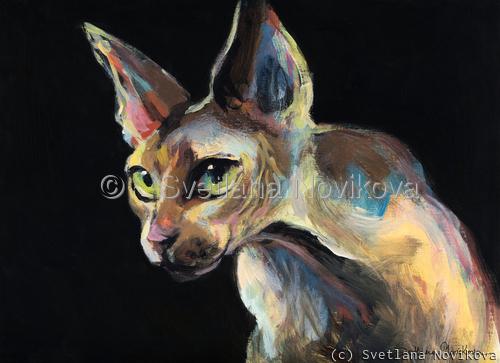 Intense Sphynx Cat Art painting Svetlana Novikova (large view)