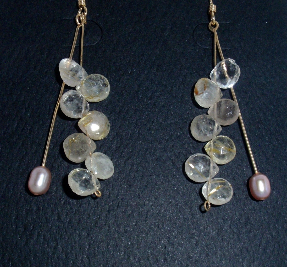 """HG-96 Rutilated Quartz, Pink oval Pearls, G.F.  earwires, 2"""" long (large view)"""