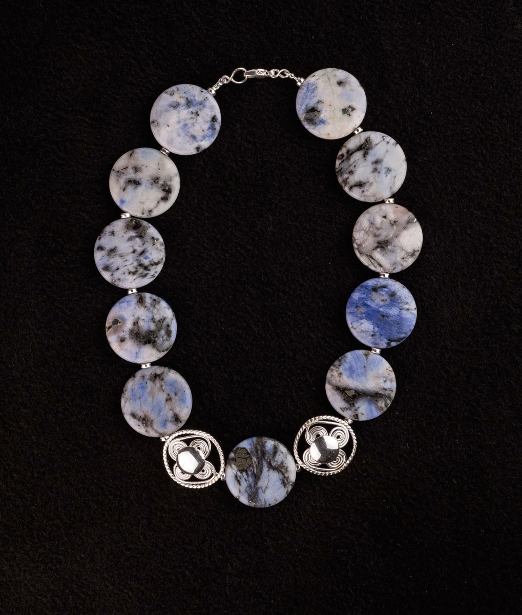 """313-MN Blue Fire Pyrite, Silver Beads, 18"""" (large view)"""