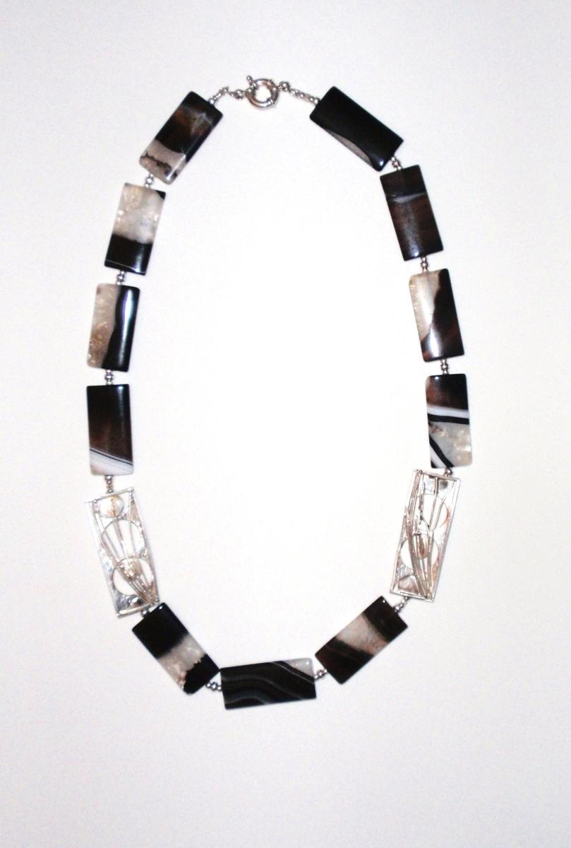 "287-MN Black Quartzite Mufflers, Silver Beads. 25""  (large view)"