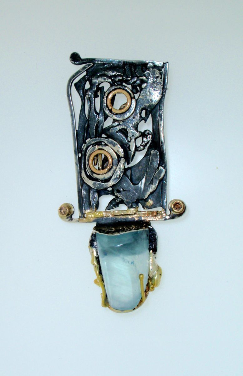 MP- 6 Aquamarine, Diamonds, 18 Kt Gold, Silver (large view)