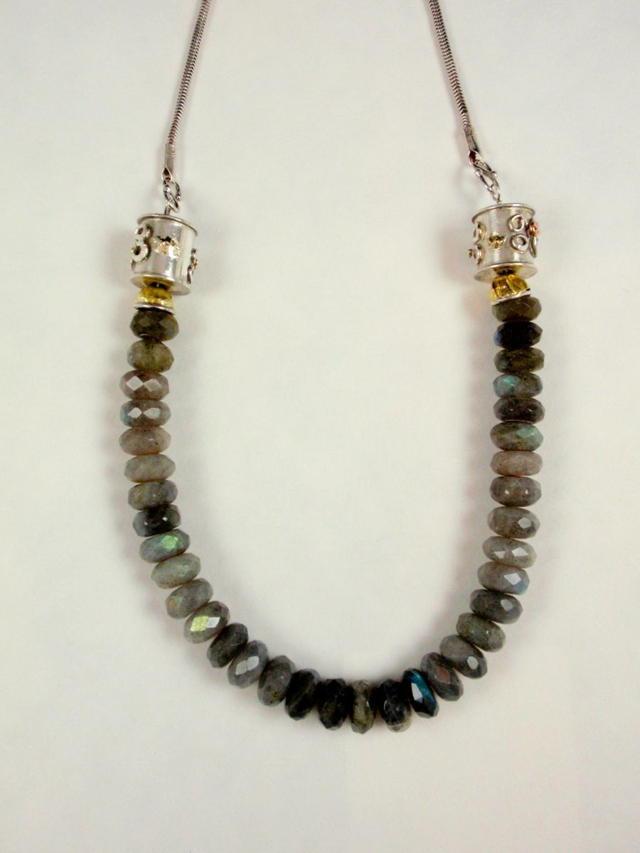"""394-MN Labradorite, 22kt Gold, Silver Necklace 18 1/2 """" (large view)"""