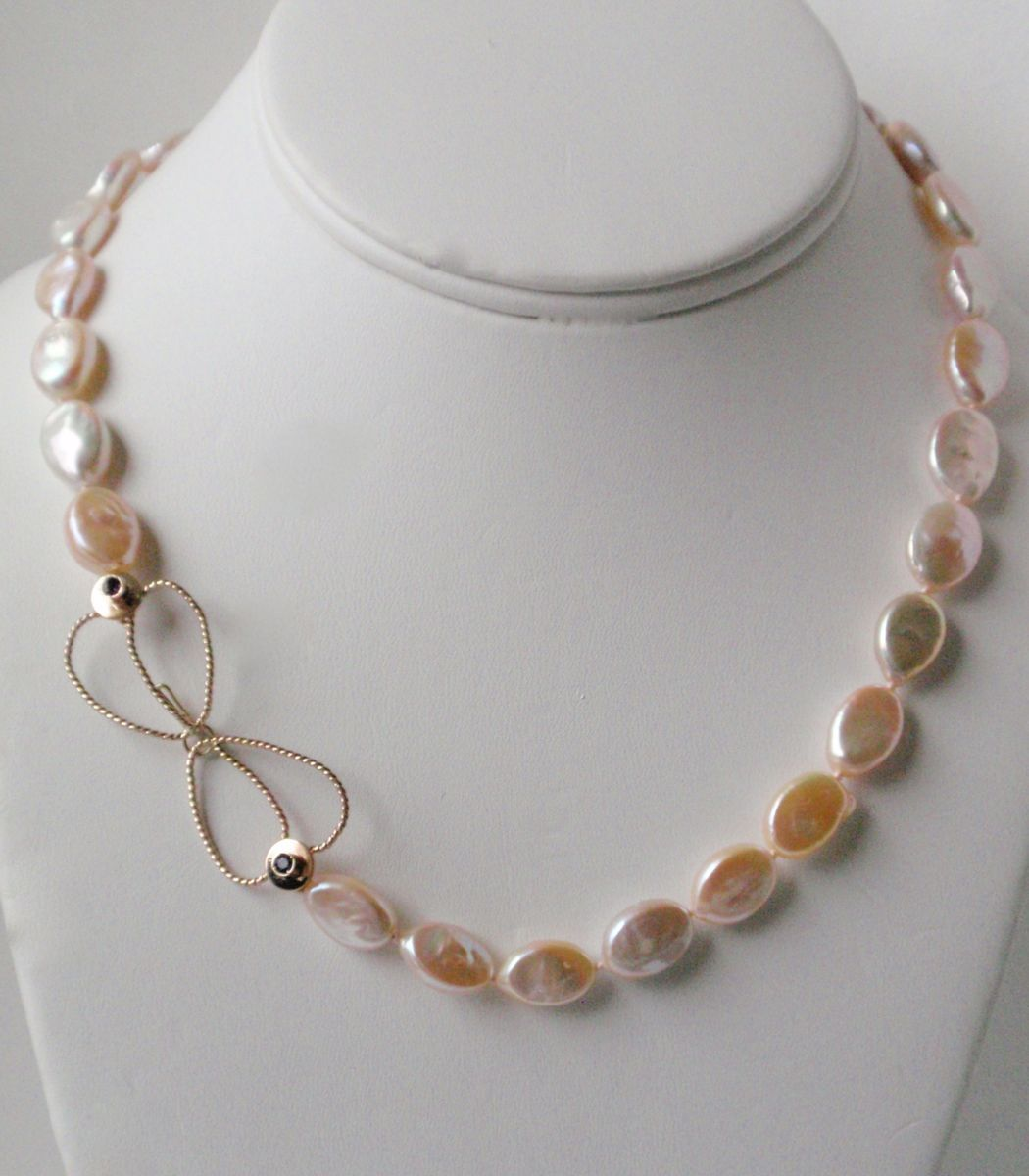 """404-MN Peach coins flat Pearls, Amethysts, 14Kt Gold, GF, 18"""" long (large view)"""