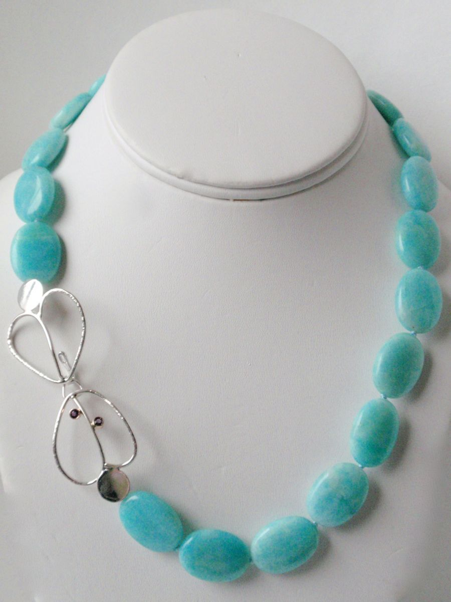 """405-MN Amazonite, Silver Hearts clasp, Amethysts, 14Kt Gold, 18"""" long  (large view)"""