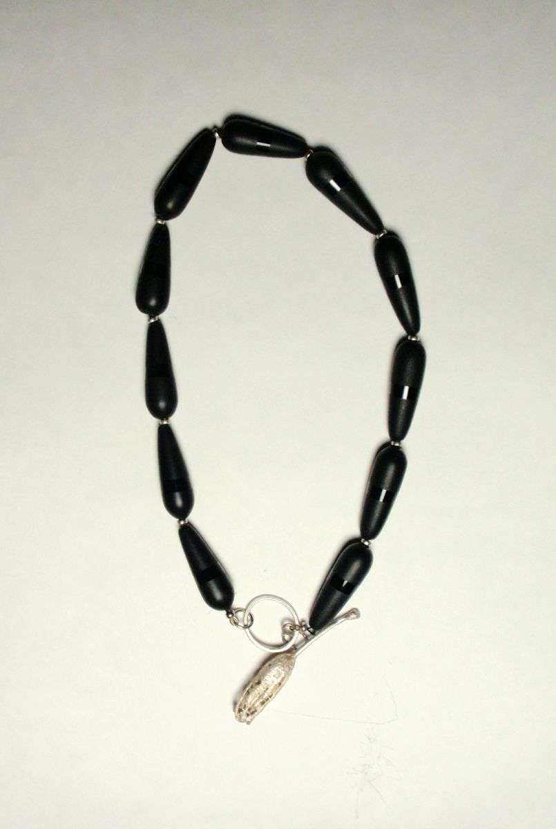 """181- MN Frosted Black Onyx, Cast Silver Toggle, 18"""" long (large view)"""