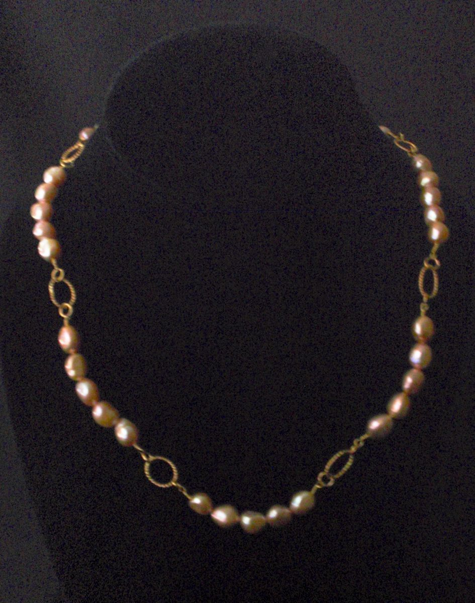 413- MN  Peach Nuggets Pearls, Gold Filled (large view)