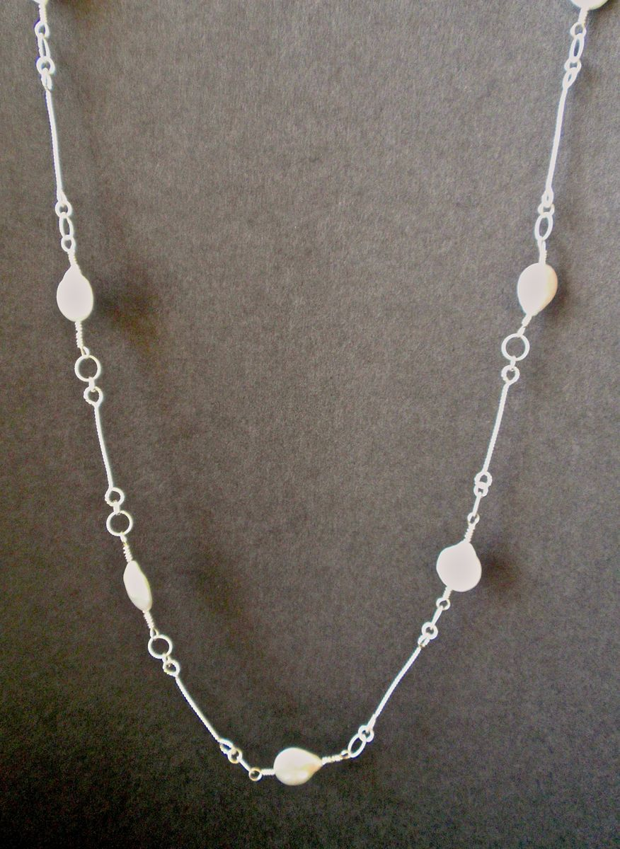 367- MN White Baroque Pearls, Silver Links (large view)