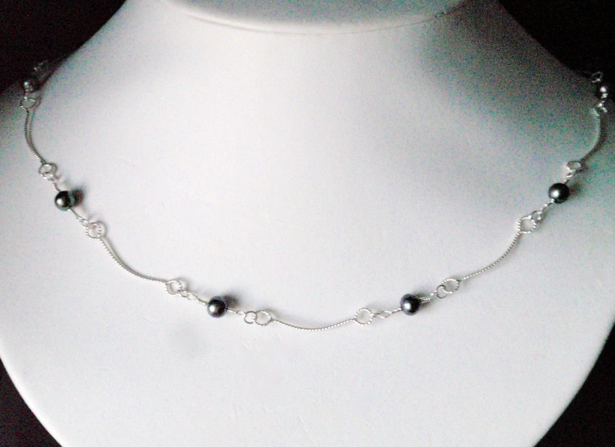 362- MN Peacock Pearls, Silver Links (large view)