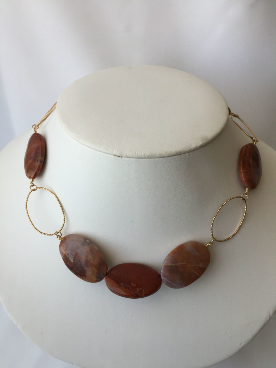 408- MN Red Jasper, Gold Filled Links (large view)