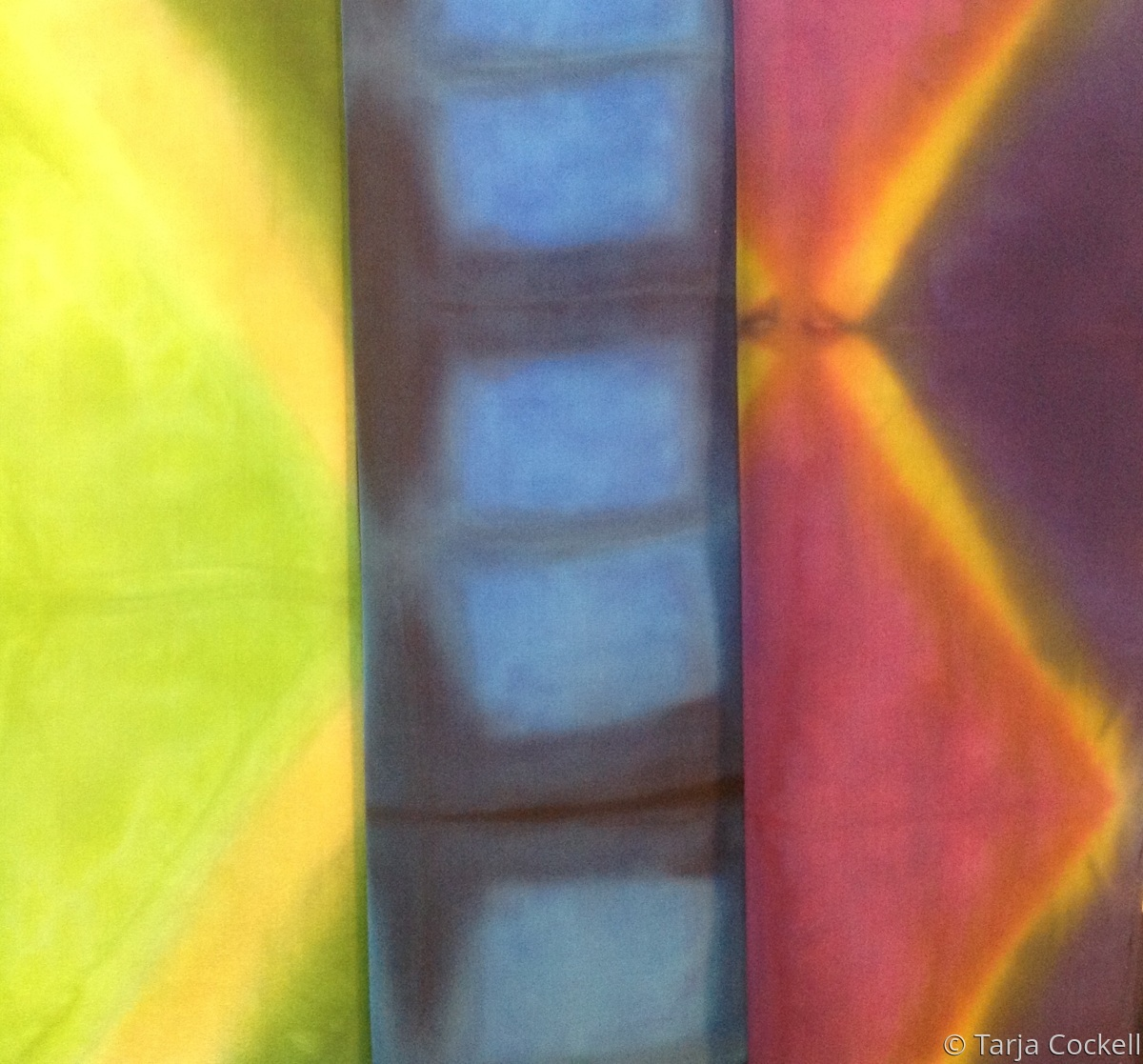 Hand dyed silk scarves (large view)