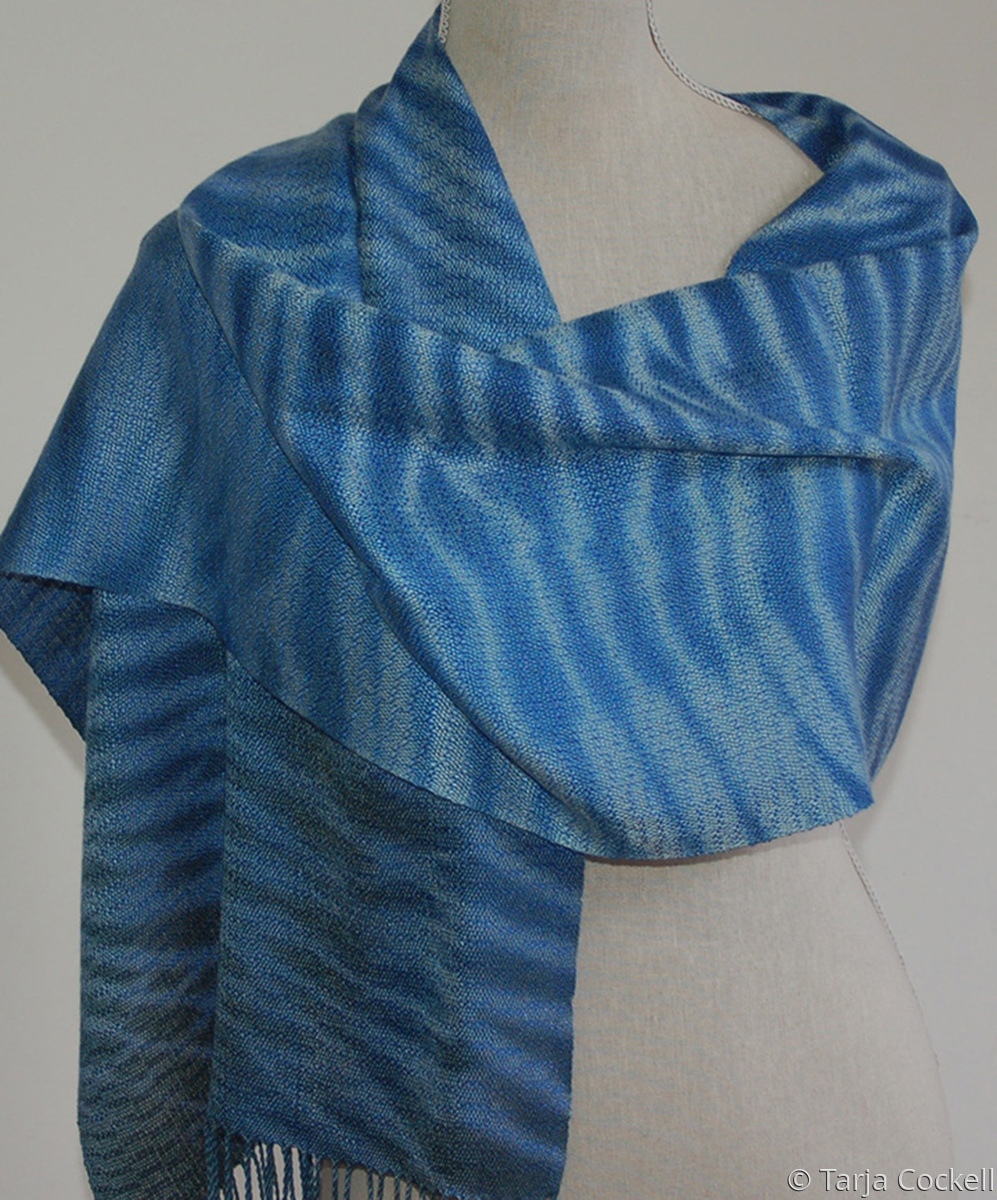 Hand woven and dyed blue scarf (large view)