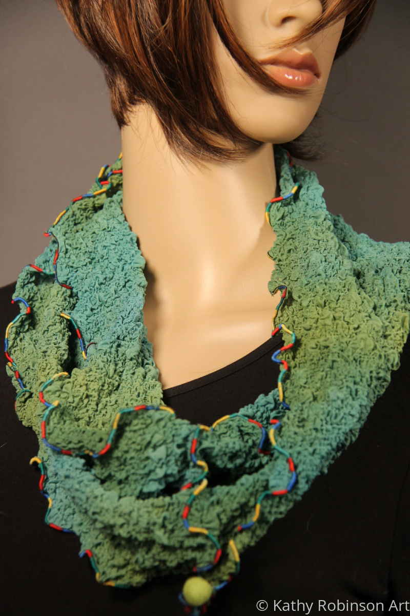 Teal/green silk bubble circle scarf (large view)