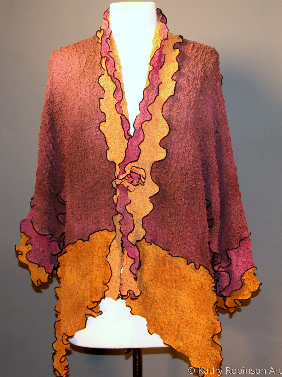 hand dyed and pieced silk bubble jacket (large view)