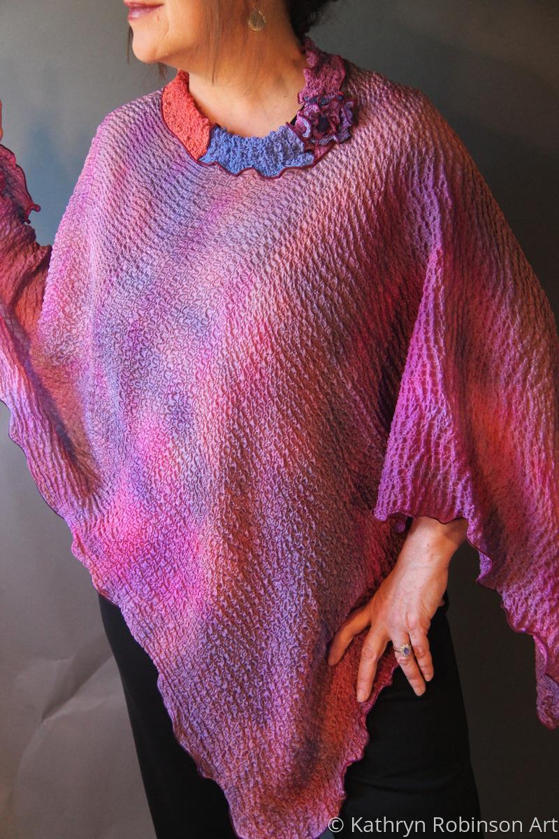 Textured chiffon poncho (large view)