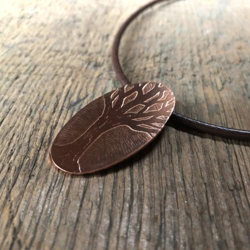 Winter Oak Copper Pendant