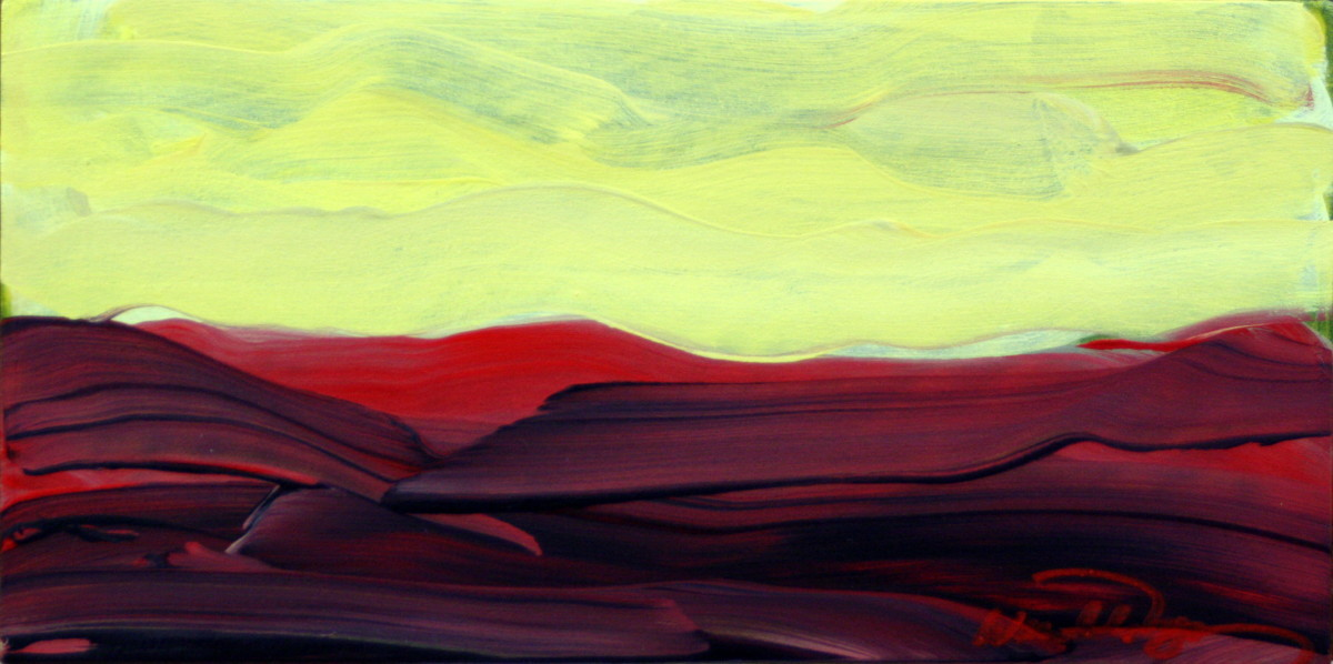 colorful expressionistic abstract landscape in red and yellow acrylic on panel (large view)
